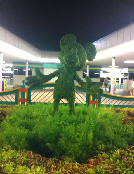 A topiary Mickey Mouse